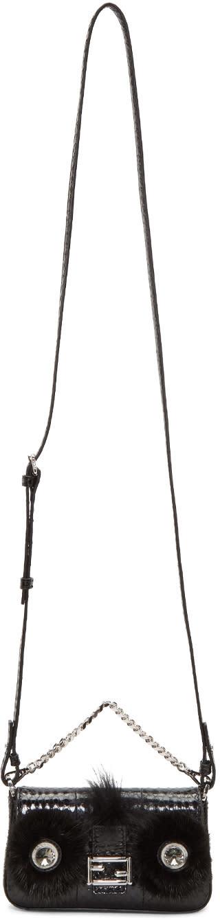 Fendi Black Snakeskin Micro Baguette Bag