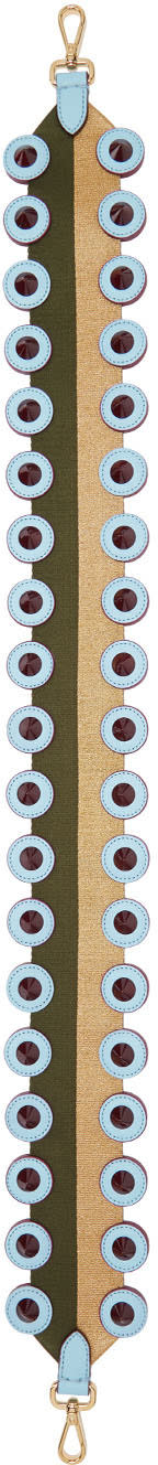 Fendi Green and Gold Studded strap You Shoulder Strap
