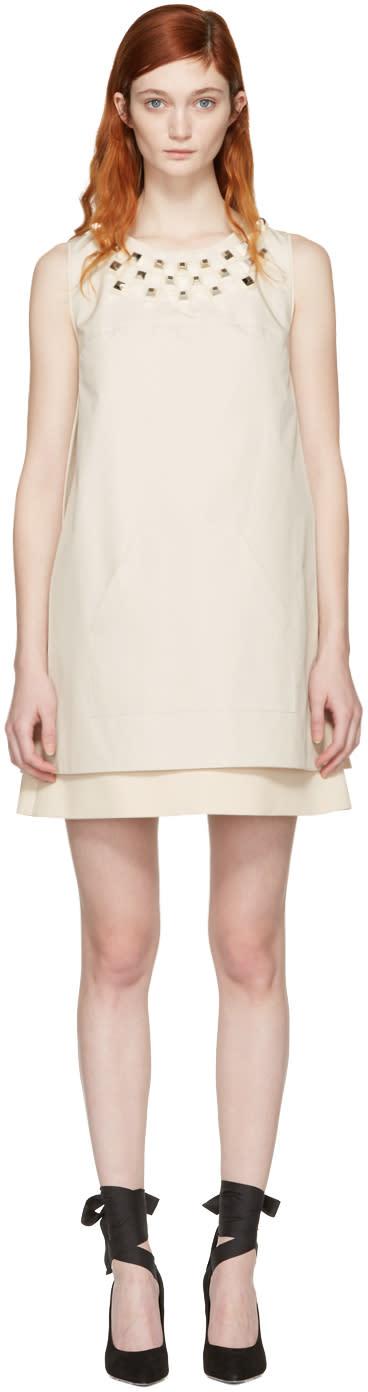 Fendi Ivory Studded Layered Dress