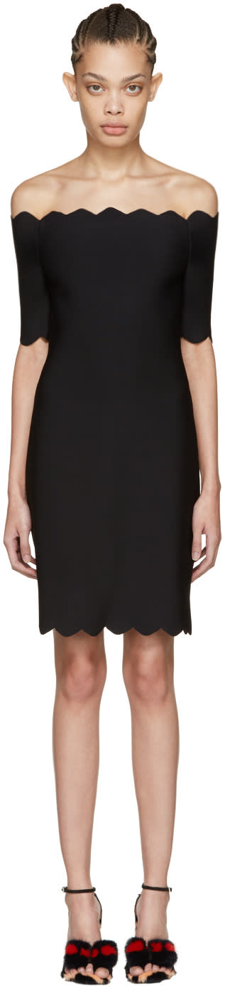 Fendi Black Scalloped Off-the-shoulder Dress