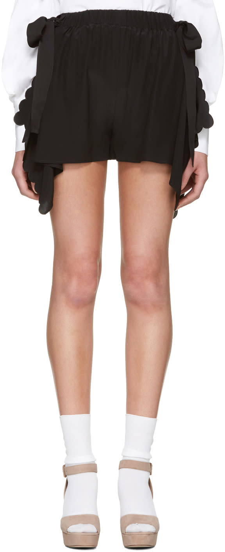 Fendi Black Scalloped Shorts
