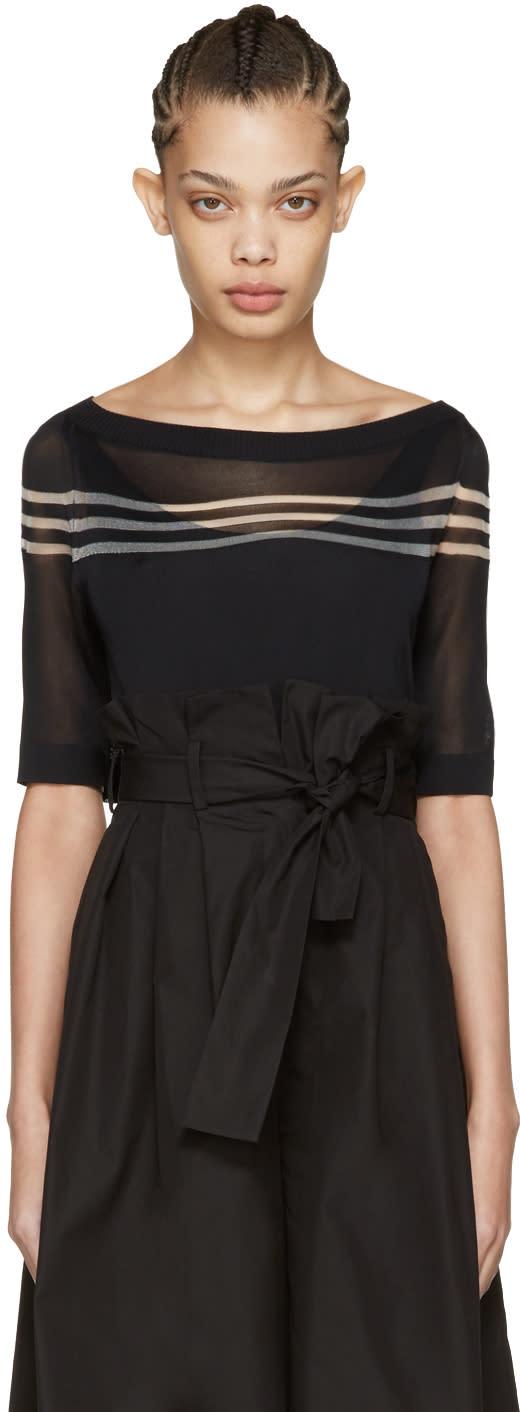Fendi Black Stripe Knit Pullover