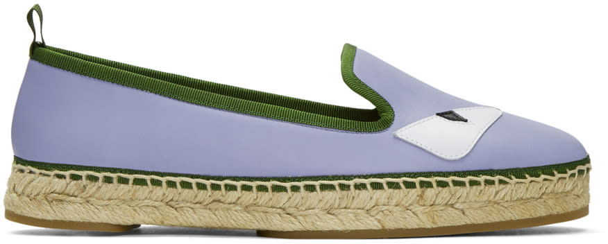 Fendi Purple Leather bag Bugs Espadrilles
