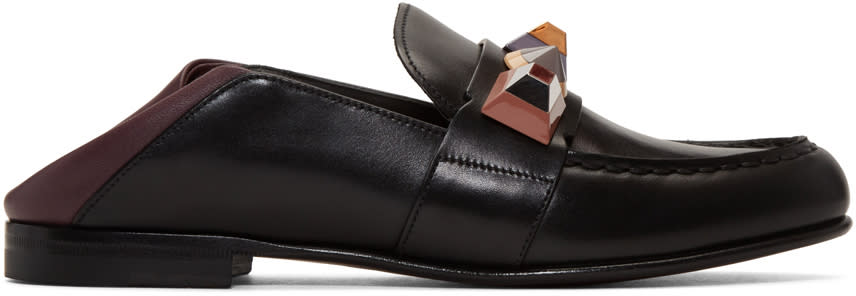 Fendi Black Rainbow Loafers