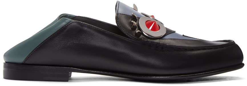 Fendi Black and Grey fendi Faces Loafers