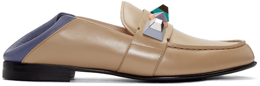 Fendi Brown Rainbow Loafers