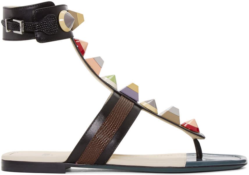 Fendi Black Rainbow Thong Sandals