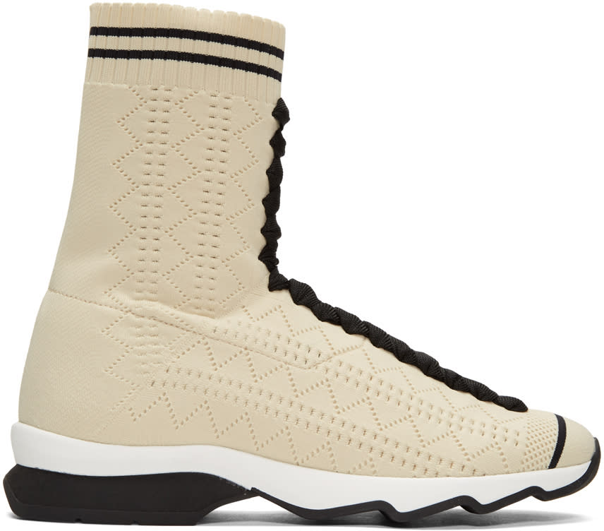 Image of Fendi Beige Sock High-top Sneakers