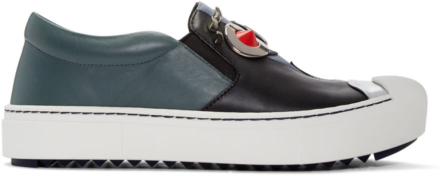 Fendi Black and Grey fendi Faces Slip-on Sneakers