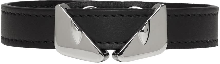 Fendi Black Leather bag Bugs Bracelet