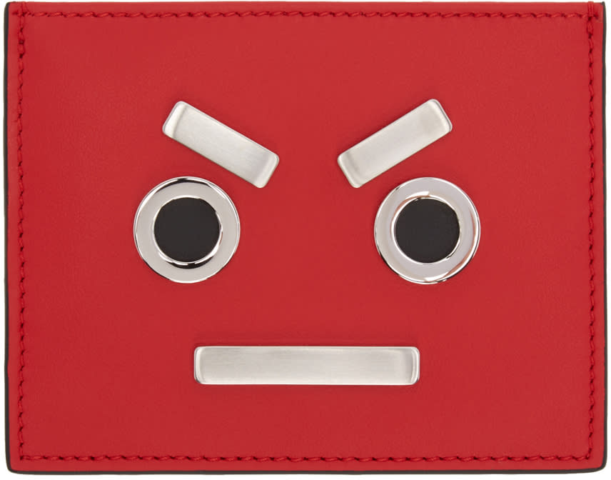 Fendi Red fendi Faces Card Holder