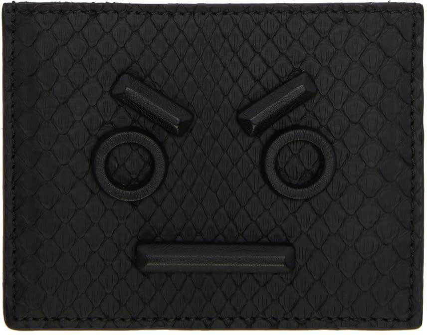 Fendi Black Python fendi Faces Card Holder