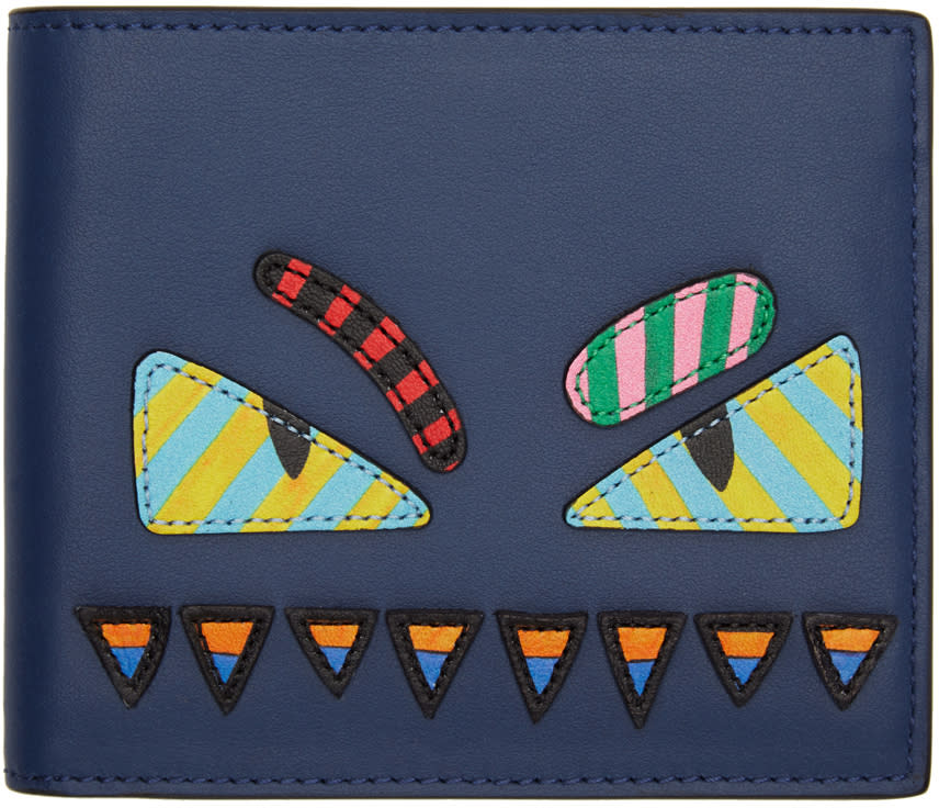 Fendi Blue and Multicolor bag Bugs Wallet