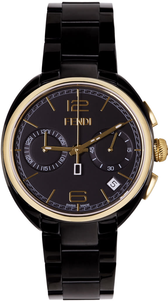 Fendi Black and Gold Momento Watch