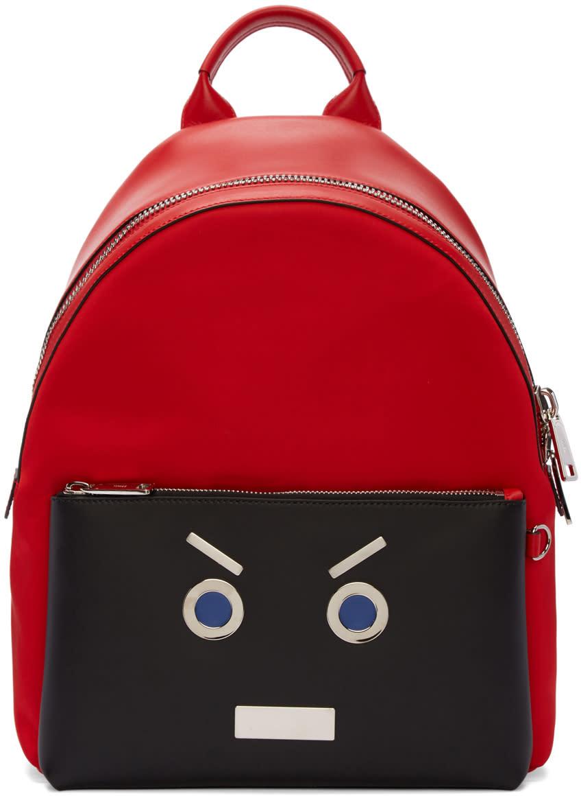 Fendi Red fendi Faces Backpack