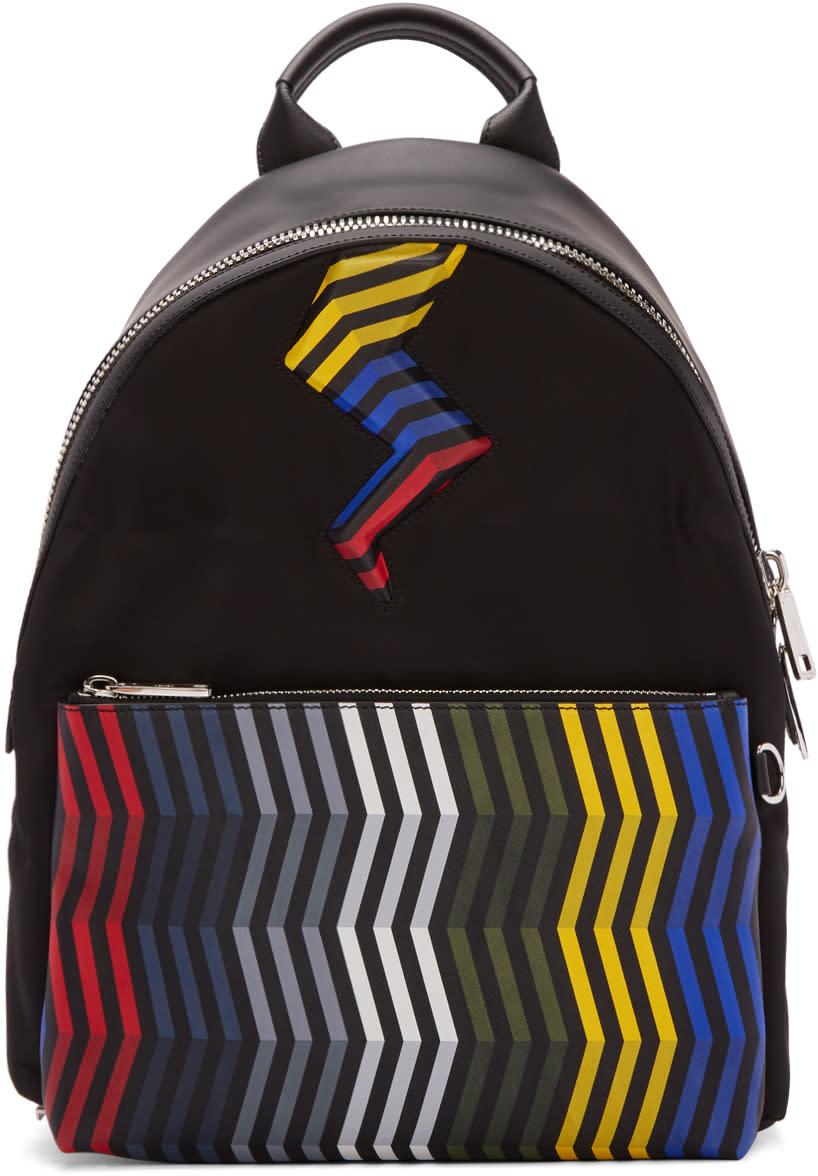 Fendi Black Zig Zag Bolt Backpack