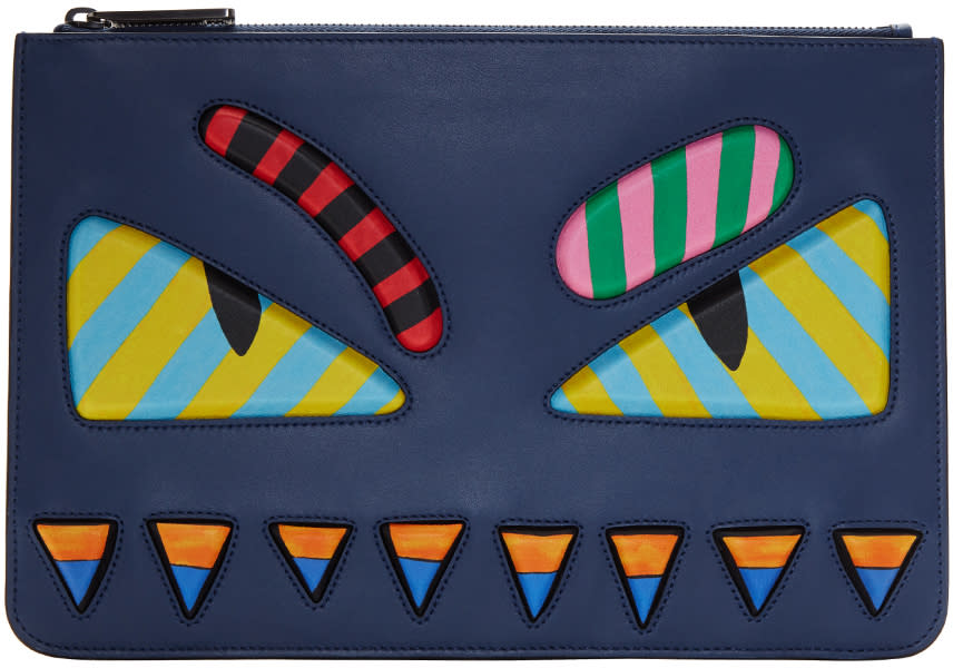 Fendi Blue and Multicolor bag Bugs Pouch