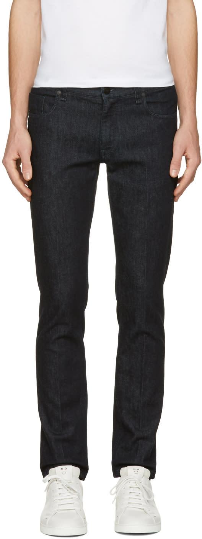Fendi Navy Embroidered Zig Zag Pocket Jeans