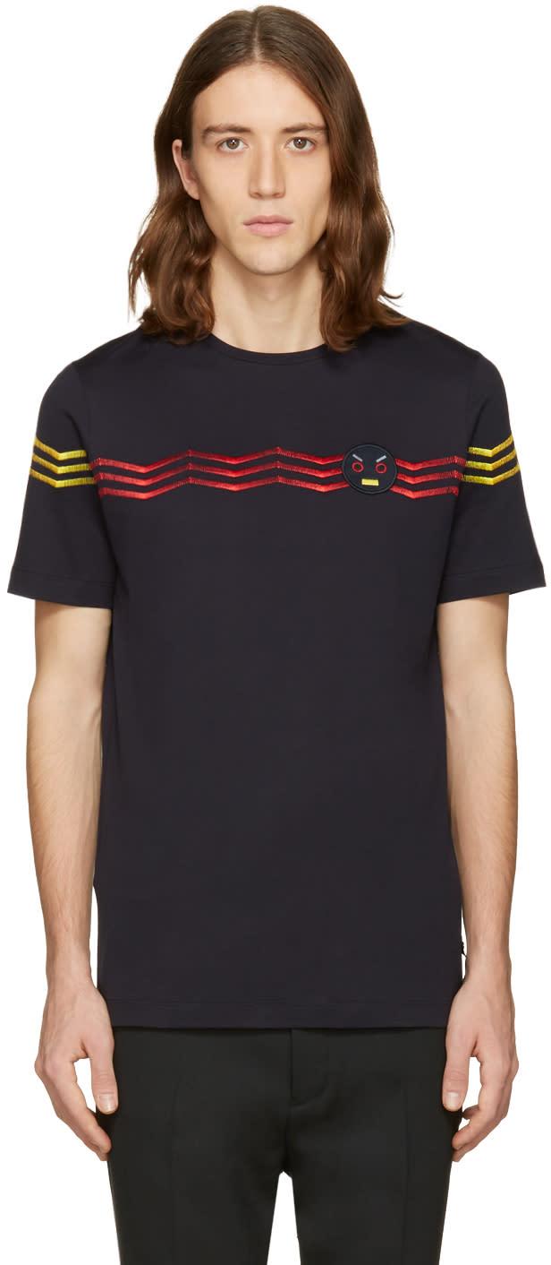 Fendi Navy Zig Zag T-shirt