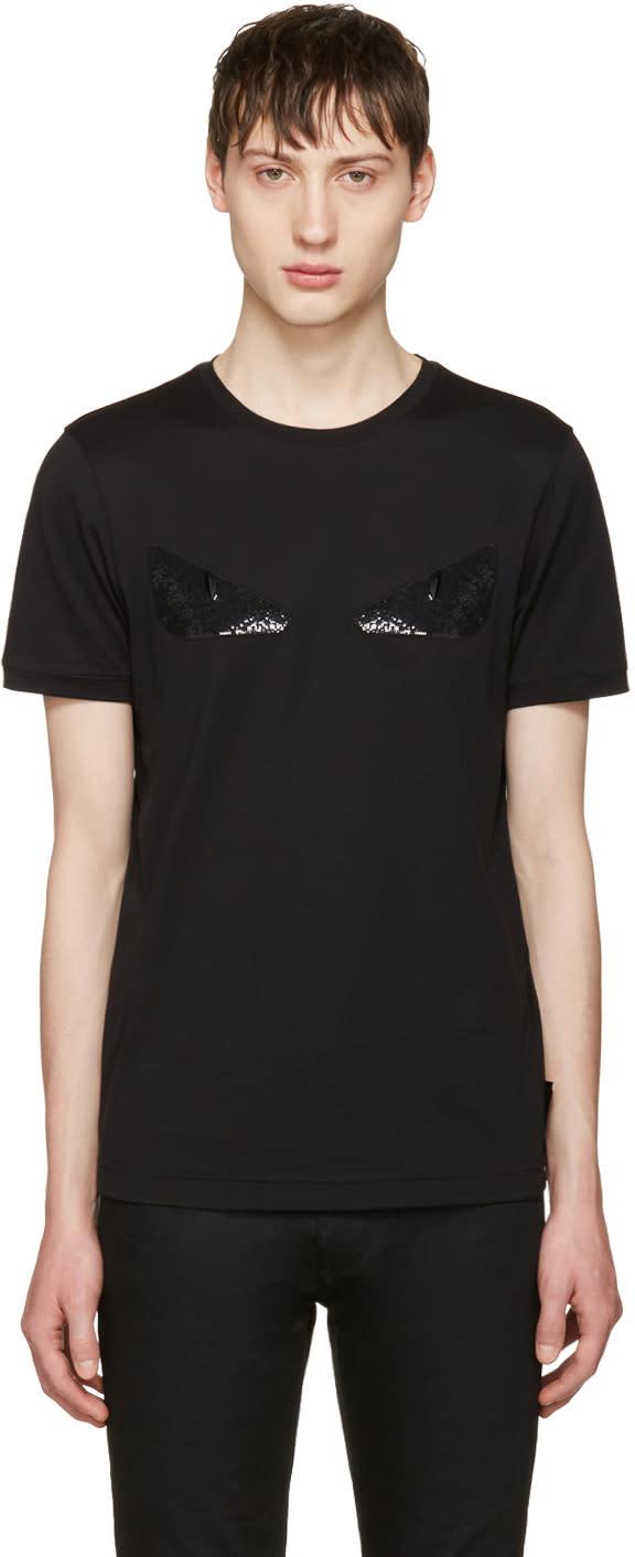 Fendi Black Sequin bag Bug T-shirt