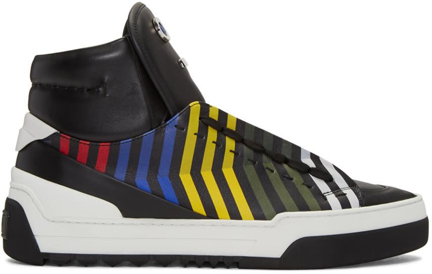 Fendi Black fendi Faces Zig Zag High-top Sneakers