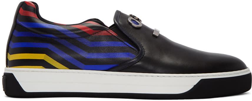Fendi Black fendi Faces Slip-on Sneakers