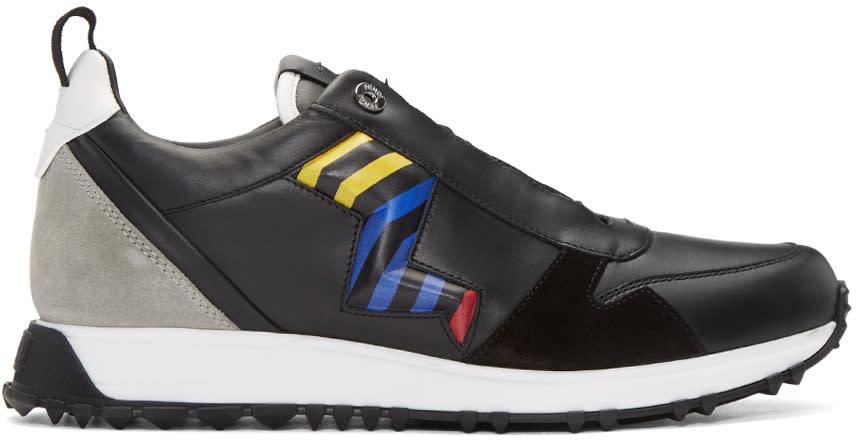 Fendi Black Zig Zag Bolt Sneakers
