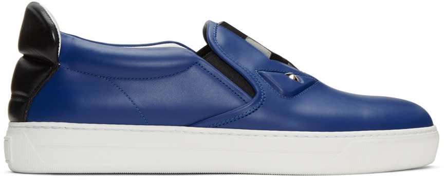 Fendi Blue Bag Bug Slip-on Sneakers