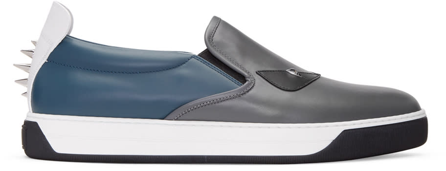 Fendi Grey bag Bug Slip-on Sneakers
