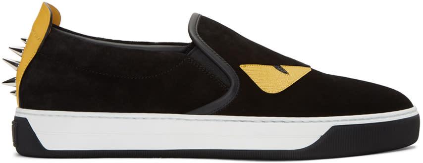 Fendi Black Suede bag Bug Sneakers