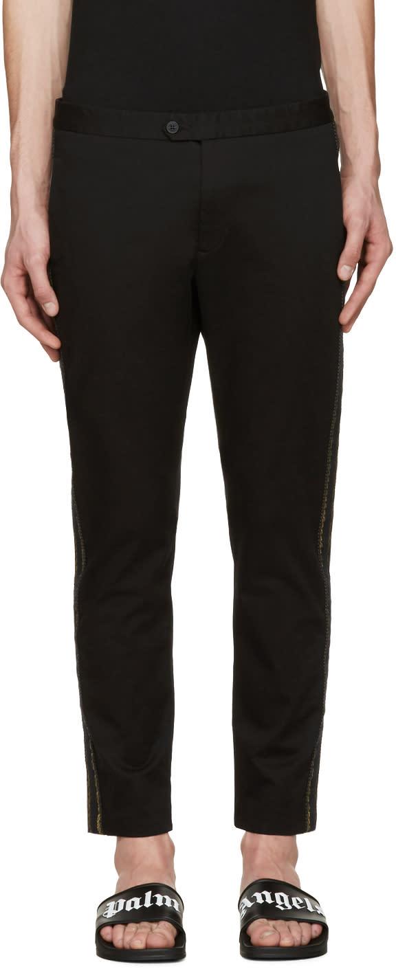 Palm Angels Black Slim Side Stripe Trousers