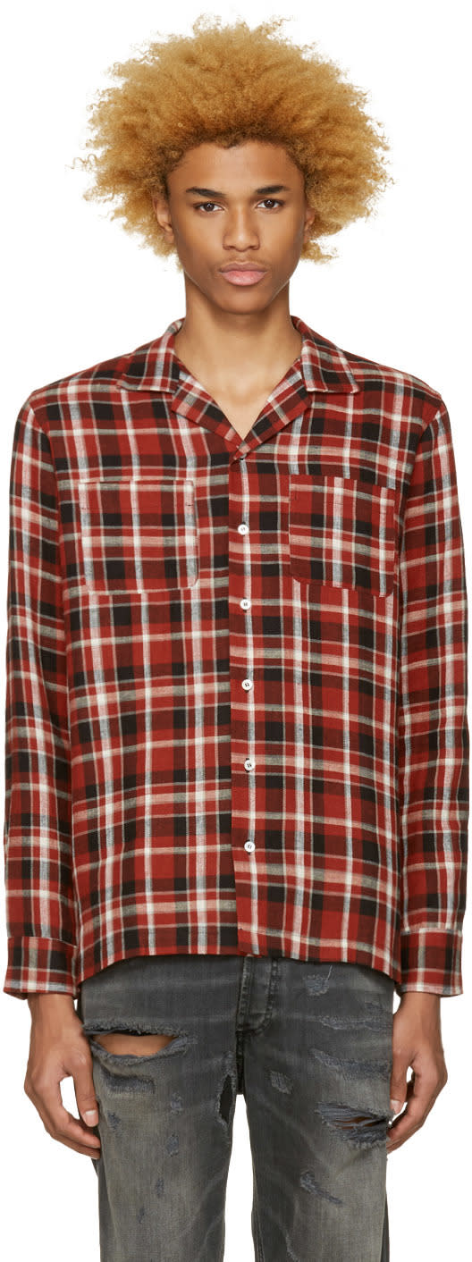 Palm Angels Red Check Pyjama Shirt