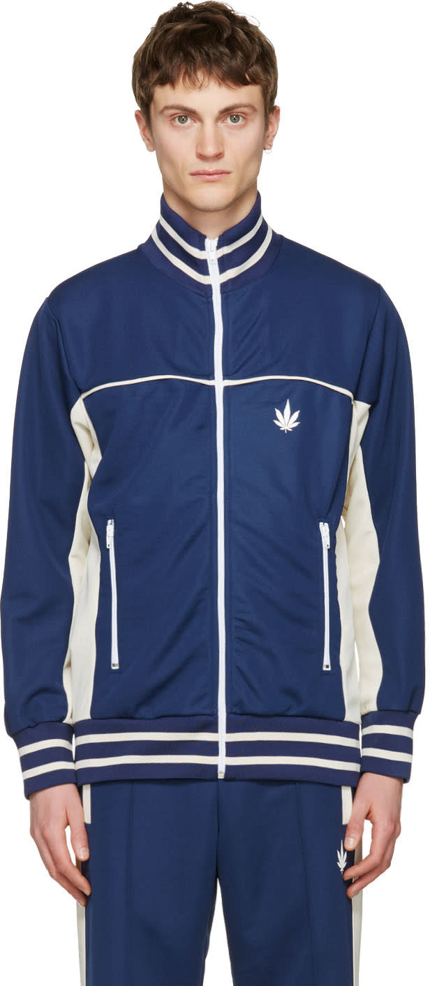 Palm Angels Navy Weed Track Jacket