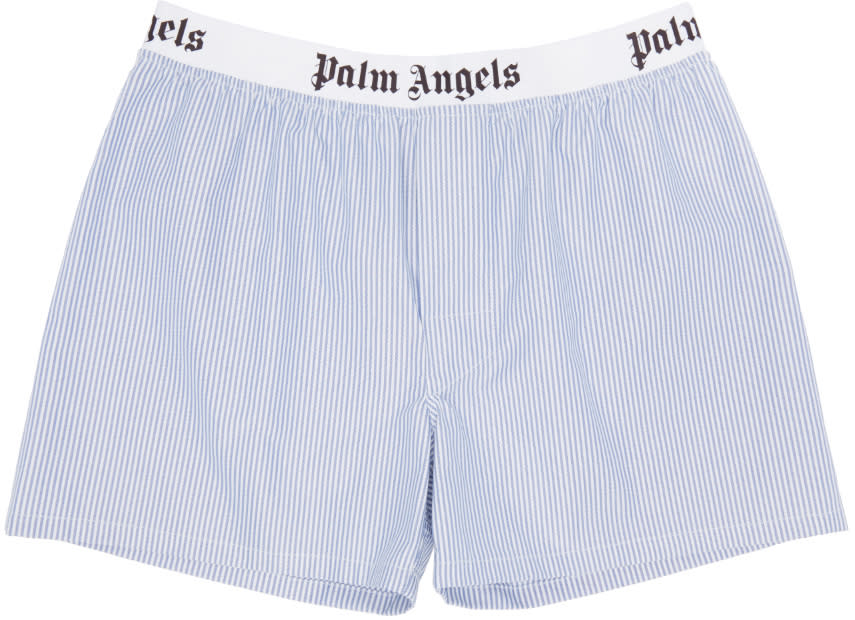 Palm Angels Blue Pinstripe Oxford Boxers