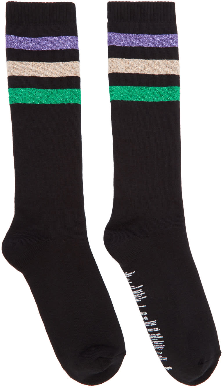Palm Angels Black Lurex Stripes Socks