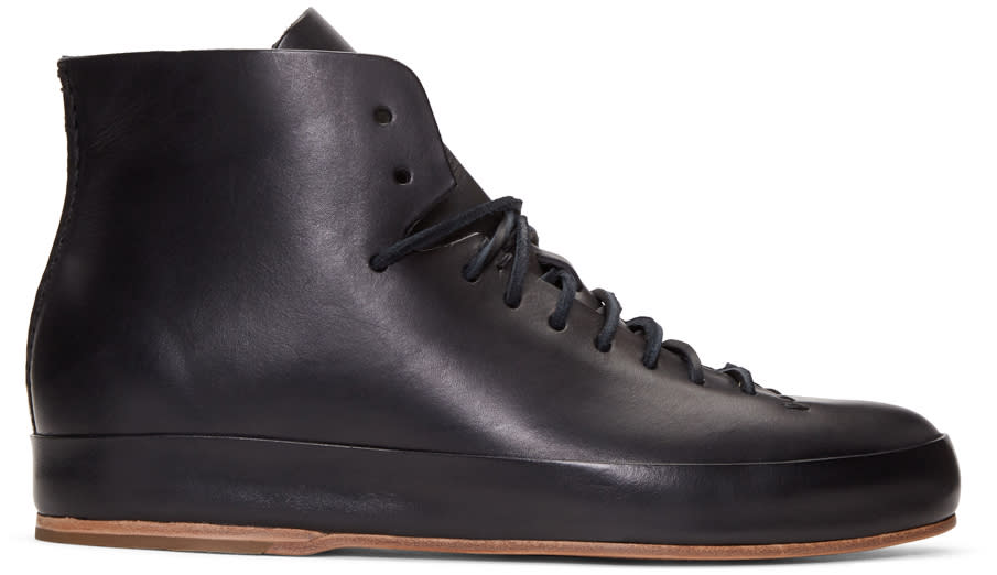 Feit Black Leather High-top Sneakers