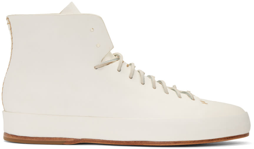 Feit White Hand Sewn High-top Sneakers