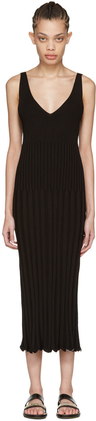 Rosetta Getty Black Ribbed Camisole Dress
