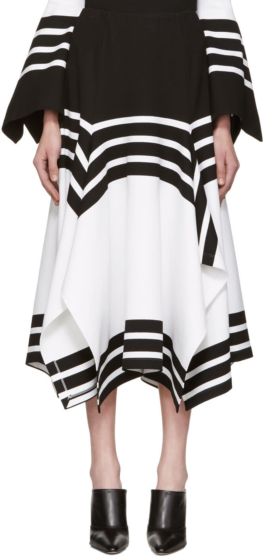 Rosetta Getty Black and White Scarf Hem Skirt