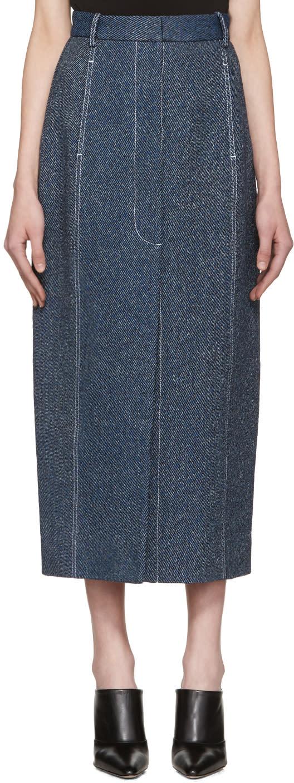 Rosetta Getty Indigo High-rise Straight Skirt