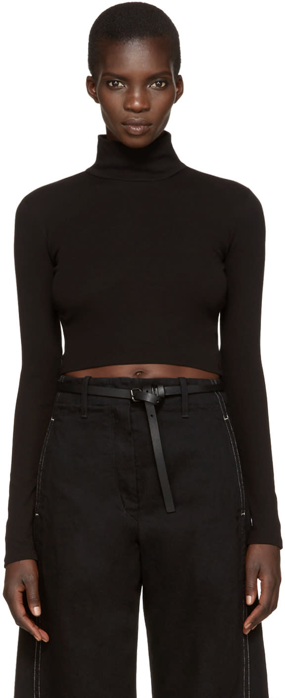 Image of Rosetta Getty Black Cropped Turtleneck