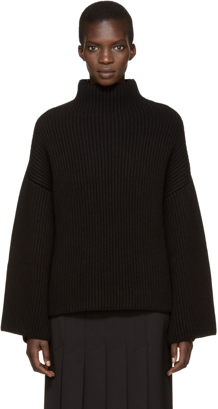 Image of Rosetta Getty Black Cropped Back Turtleneck
