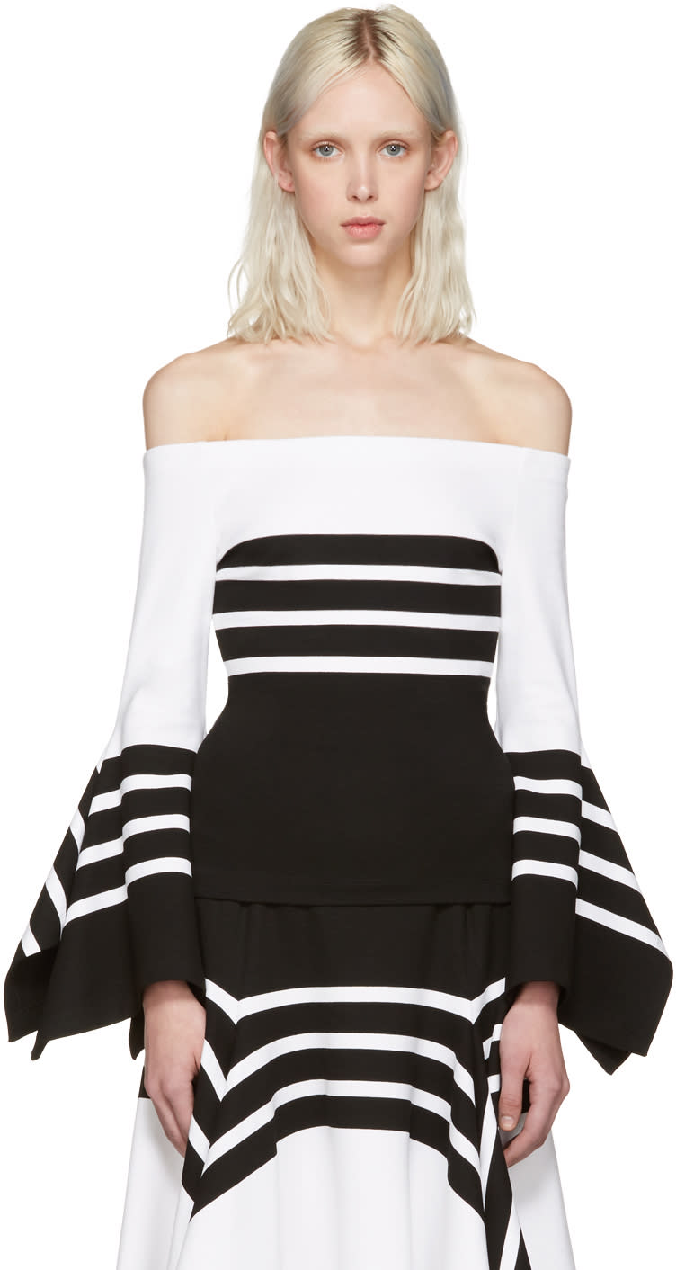 Rosetta Getty Black and White Scarf Hem Off-the-shoulder Blouse