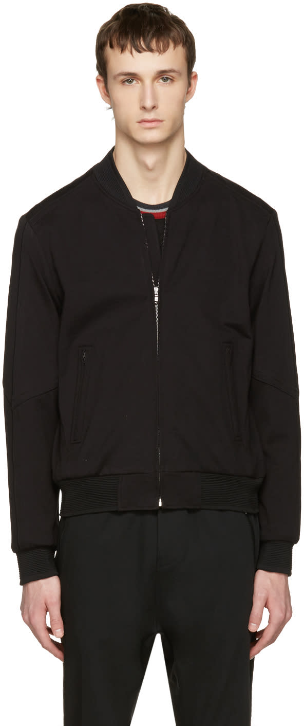 Image of Wooyoungmi Black Jersey Bomber Jacket