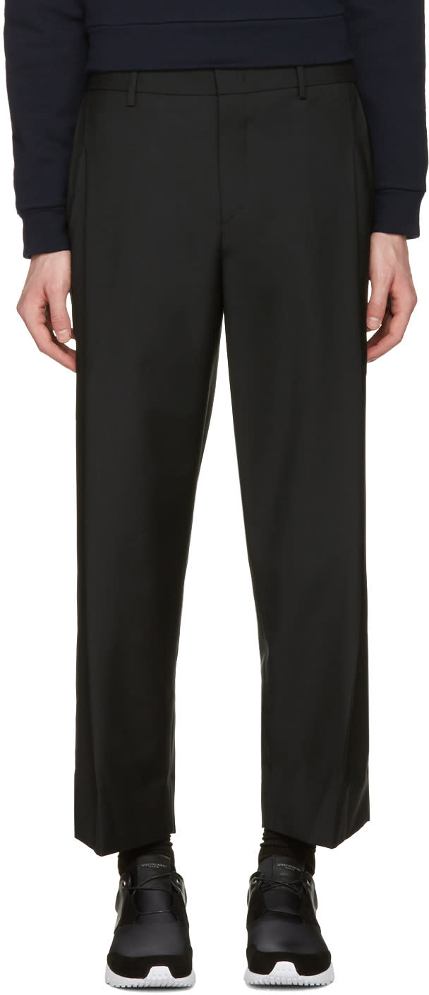 Wooyoungmi Black Wide-leg Cropped Trousers