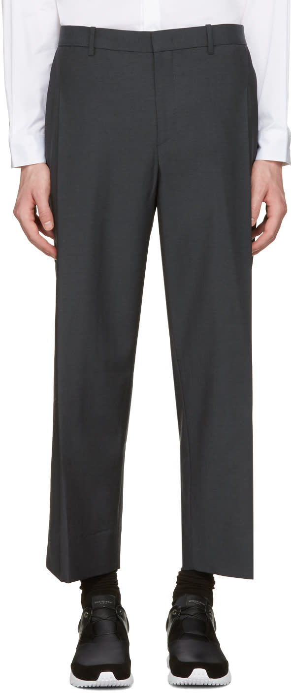 Wooyoungmi Grey Wide-leg Cropped Trousers