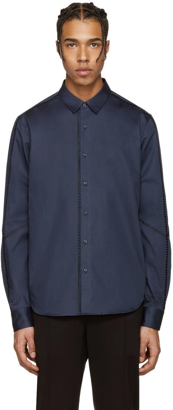 Wooyoungmi Navy Cotton Stitching Shirt