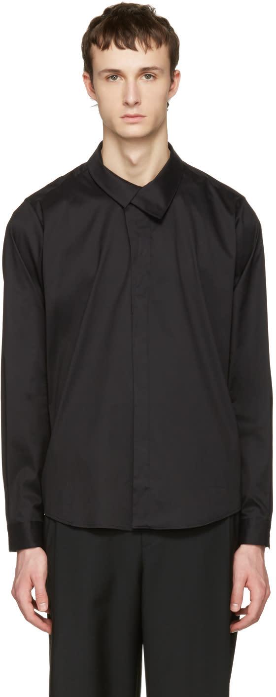 Wooyoungmi Black Flap Collar Shirt