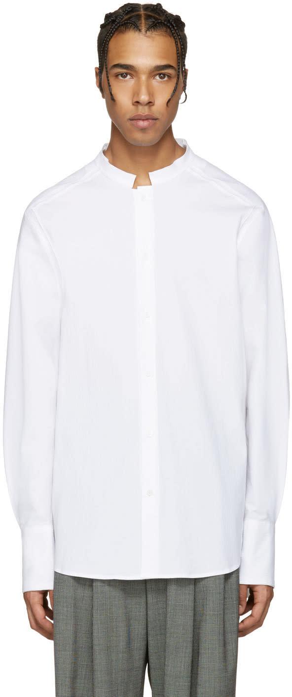 Wooyoungmi White Seersucker No Collar Shirt