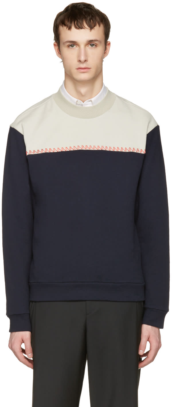 Wooyoungmi Navy Colorblock Pullover